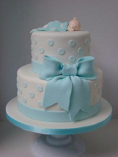 Baby Shower Cake 2 tier cake with baby blue polka dots and bow. It is simple, classic and sweet w… Torta Baby Shower, Baby Shower Pasta, Baby Shower Cakes For Boys, Baby Shower Parties, Baby Boy Shower, Baby Showers, Baby Cakes, Cupcake Cakes, Sweets Cake