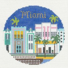 Silver-Needle-MIAMI-FLORIDA-handpainted-4-25-Round-Needlepoint-Canvas-Ornament