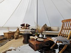 Interior of Danish tent...now THAT'S the way to go 'rugged'