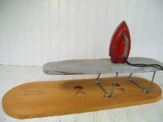 Vintage Little Lady Red Enamel Metal Working Iron  by DivineOrders