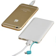 4000mAh Ultra-Thin Wallet Sized Portable USB External Battery Charger w/ Built-in Lightning & Micro USB Cable