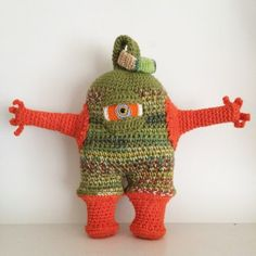 KBG Studio Sale 5/13 - 5/15! Leave your email address to buy. Invoices go out through PayPal on Monday. $25  $3 shipping - Knotty Knucklehead Monster is crochet out of wool yarn and crochet thread. He measures about 11 inches tall and is 6 inches wide at the belly and 13 inches wide hand to hand. He is stuffed with fiberfill and his eye and ring is securely sewn to his monster body. This is a one of a kind doll. #crochet #ornament #keychain #sale #studiosale #KnotByGranma #collectibles…