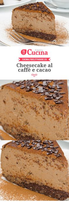 Cheesecake al caffè e cacao Cheesecakes, Cacao, Vanilla Cake, Tiramisu, Sweet, Ethnic Recipes, Desserts, Food, Projects