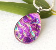 Pink Dichroic Glass Necklace - Fused Glass Jewelry - Bright Pink Glass Pendant by TremoughGlass on Etsy