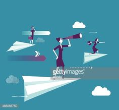 Vector Art : Businesswoman standing on the paper plane