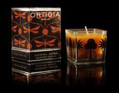 Ortigia Sicilia Black Amber Medium Square Candle