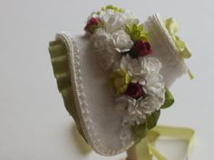 Miniature 1/12th scale dollhouse silk bonnet. Another beautiful rendition in miniature.