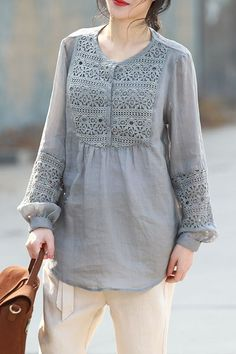 Casual Gray And Beige Quilted Blouse Women Spring Loose Tops Casual Tops For Women, Blouses For Women, Ladies Blouses, Women Tunic, Women's Blouses, Tunics, Sleeves Designs For Dresses, Kurta Designs Women, Kurti Designs Party Wear