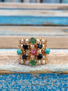 14k Rose Gold Harem ring with Sapphires Emeralds Turquoise