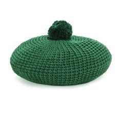 Gucci Knitted Cotton Beret (1.675 RON) ❤ liked on Polyvore featuring accessories, hats, green, hats/hair accessorie, gucci hat, beret hat, green beret hat, green hat and gucci