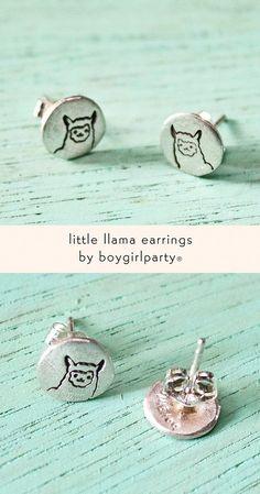 Llama Studs by Susie Ghahremani / boygirlparty® from: http://shop.boygirlparty.com/products/llama-earrings-sterling-silver