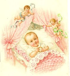 Victorian New Baby Postcard