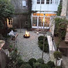 small space with gravel + fire pit