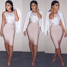 Last night's dinner #OOTD Bodysuit & Skirt @hotmiamistyles Blazer @hotmiamistyles Shoes @louboutinworld #Amrezy #Glamrezy