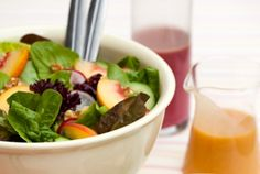 with Peach-Walnut Dressing This salad is so delicious, and the peach ...