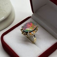 16,7 mm Ring Gold 585 Regenbogen Opal blau Farbspiel Vintage edel GR464 Ringe Gold, Druzy Ring, Fashion Jewelry, Antiques, Etsy, Rings, Vintage, Jewels, Accessories