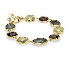Labradorite, Lemon Quartz, and Smokey Quartz Bracelet in Gold Vermeil