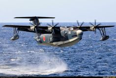 ShinMaywa Amphibian operated by the Japanese Maritime Self Defense Force, currently the most modern military amphibious aircraft in full service Amphibious Aircraft, Ww2 Aircraft, Military Aircraft, Airplane Fighter, Float Plane, Flying Boat, Aircraft Design, Aviation Art, Military Art