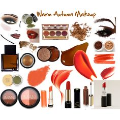 """Warm Autumn Makeup"" by jeaninebyers on Polyvore Here are so things you can look for in drugstores look for these colors!"