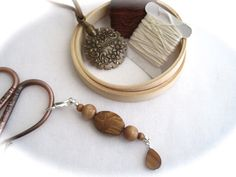 Stone Shell Wood Scissor Fob by OneSimpleGift on Etsy