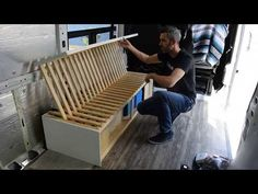 diy pull out rv sofa bed Sofa Bed Van, Pull Out Bed Couch, Fold Out Couch, Fold Out Beds, Diy Sofa, Sofa Cama Ikea, Folding Couch, Camper Beds, Station Wagon