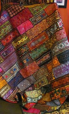 Bohemian Patchwork Textiles ... color scheme and square concept for journal page/canvas