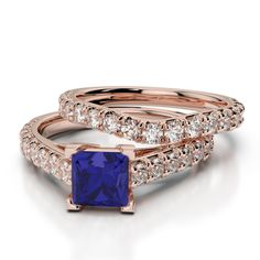 Gold / platinum round and princess cut tanzanite and diamond bridal set ring Ruby Rose, Rose Gold, Bridal Ring Sets, Gold Platinum, Princess Cut, Emerald, Sapphire, White Gold, Wedding Rings