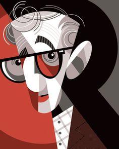 Woody Allen by Pablo Lobato - illustration Illustration Design Graphique, Art Graphique, Illustration Art, American Illustration, Pablo Picasso, Arte Pink Floyd, Ode An Die Freude, Deco Cinema, Tableau Pop Art