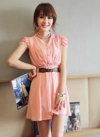 Pink Short Gathered Sleeves Draped Waist Asian Fashion Chiffon Dress With An Attached Belt