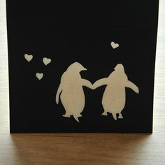 Penguin Love  Blue  Cut Paper Greeting Card by HollerAndWhistle, $5.00    amazingly cute