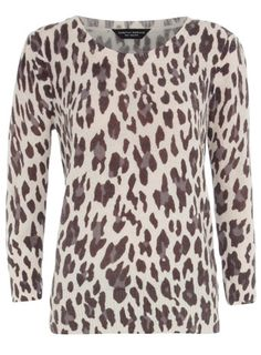 Cream animal print sweater.. I would wear this!