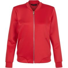 New Look Red Scuba Bomber Jacket (2.920 RUB) via Polyvore featuring outerwear, jackets, red, red bomber jacket, pocket jacket, bomber style jacket, red flight jacket и long sleeve jacket