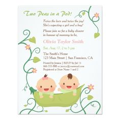 Two Peas in a Pod Twin Child Bathe Invites. *** See more at the image link