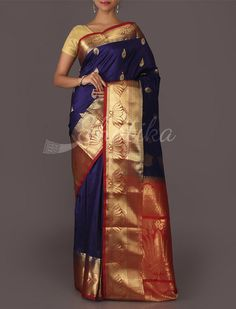 Anita Grand Lotus Golden Leaf Pure #MulberrySilkSaree