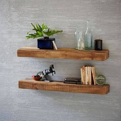Reclaimed Wood Floating Shelf- 2Ft, Reclaimed Pine At West Elm - Shelving - Living Room Storage