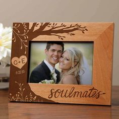 Frame the date of your special bond with this personalized wall frame. Chic, durable wood borders your photo for appeal that lasts a lifetime. Shipping note: This item will be personalized just for you. Allow extra time for your special find to ship. Love Frames, Frames On Wall, Romantic Boyfriend, Planet Love, Picture Frame Crafts, Personalized Picture Frames, Wood Burning Art, Wedding Frames, Wedding Ideas