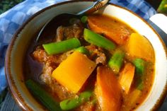 Packed with butternut squash, beef, and sweet-smelling herbs, Gluten Free Dairy Free Beef and Butternut Stew is an appetizing slow cooker freezer meal. Dairy Free Recipes, Real Food Recipes, Soup Recipes, Healthy Recipes, Freezer Recipes, Beef Recipes, Bariatric Recipes, Healthy Dinners, Bon Appetit