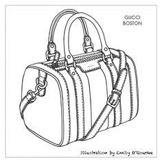 GUCCI - BOSTON BAG - Designer Handbag Illustration / Sketch / Drawing / CAD / Borsa Disegno / Product illustrator / Illustrazioni Borse /  styliste sac à main