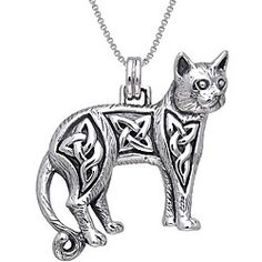 @Overstock - Add uniqueness to your jewelry with this one-of-a-kind sterling silver Celtic cat necklace. This necklace is crafted of sterling silver, and features an intricately detailed cat with embedded Celtic knot accents to welcome adaptability and change.http://www.overstock.com/Jewelry-Watches/CGC-Sterling-Silver-Celtic-Cat-Necklace/4311036/product.html?CID=214117 $45.49