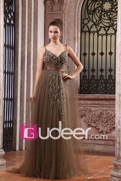 Beaded Coffee Chiffon V-neckline Luxury Long Evening Dress with Spaghetti Straps