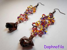 Flowers of autumn Colours and copper Handmade earrings