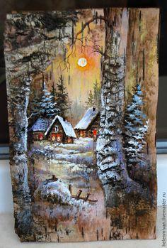 Купить Роспись по бересте. Домики, ёлочки. - зимний пейзаж, зима, зима в бересте, картины на бересте