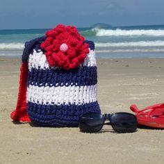 Crocheting: beach marine summer crochet bag.