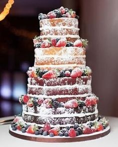 Beautiful naked wedding cake with fresh berries. what a perfect idea for a rustic wedding! although naked cakes aren't really my thing this is a lovely example Berry Wedding Cake, Wedding Cake Rustic, Wedding Cakes, Blueberry Wedding, Raspberry Wedding, Bolos Naked Cake, Naked Cakes, Beautiful Cakes, Amazing Cakes