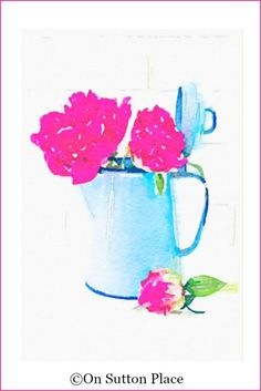 Peony Watercolor Printables | Pink peonies in blue enamelware pot| use for DIY wall art, screensavers, cards, crafts and more!