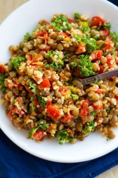 Tomato garlic lentil salad