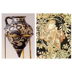 Сравнение крито-микенской культуры с ар-нуво. Сходство: Присутствие черного цвета.