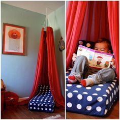 940c19cd09b5 Fun idea for when Evie is done with her toddler mattress!    Repurpose an  old crib mattress to make a reading nook. Cara Horner