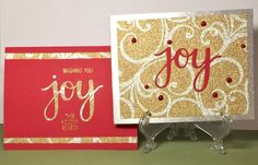 Holiday Joy Card - Scrapbook.com - Beautiful glitter cardstock is perfect for holiday cards!