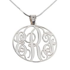 This sterling silver personalized monogram pendant necklace is an exquisite and chic way to show that special person in your life how much you care. Monogram Necklace, Circle Necklace, Personalized Necklace, Name Necklace, Name Jewelry, Jewelry Art, Jewellery, Circle Monogram, Sterling Silver Hoops